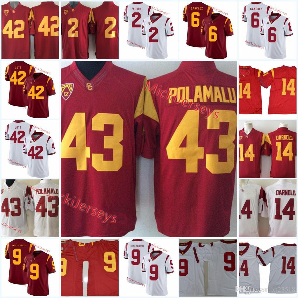 42 Ronnie Lott Usc Trojans Football Jersey Robert Woods Mark Sanchez Juju Smith Schuster Su A Cravens Troy Polamalu Sam Darnold Usc Jersey