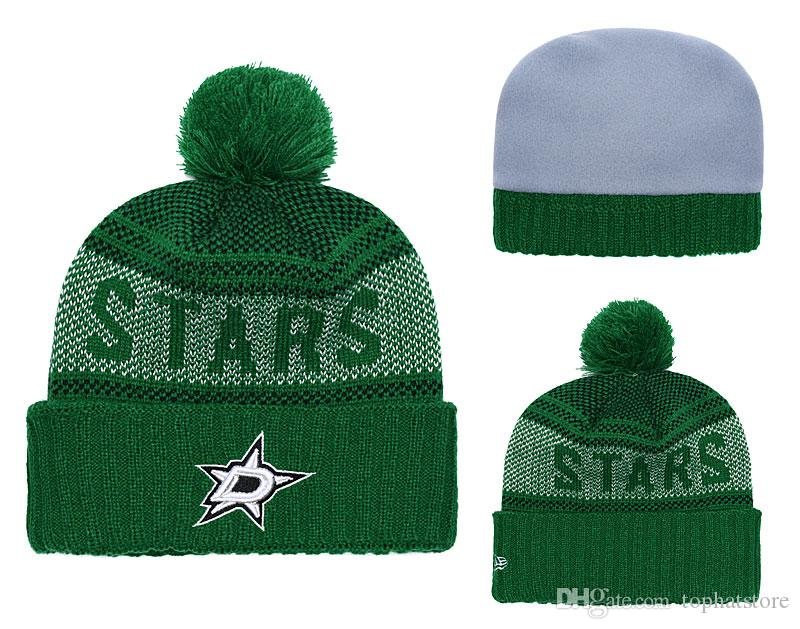 53a95598877b2 Top Quality One Pice Cheap Hockey Beanies Team Logo Embroidered Dallas  Stars Cuffed Knit Hat Sport Skull Men Women Winter Caps Crochet Beanie  Beanies For ...