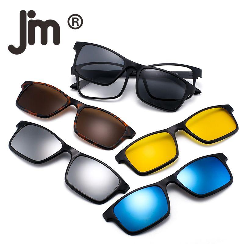 Lens Sunglasses Night For Styles Driving Sun 3 Plastic Polarized Magnetic Shades 5pcs On Clip Frame Glasses F1KJlc