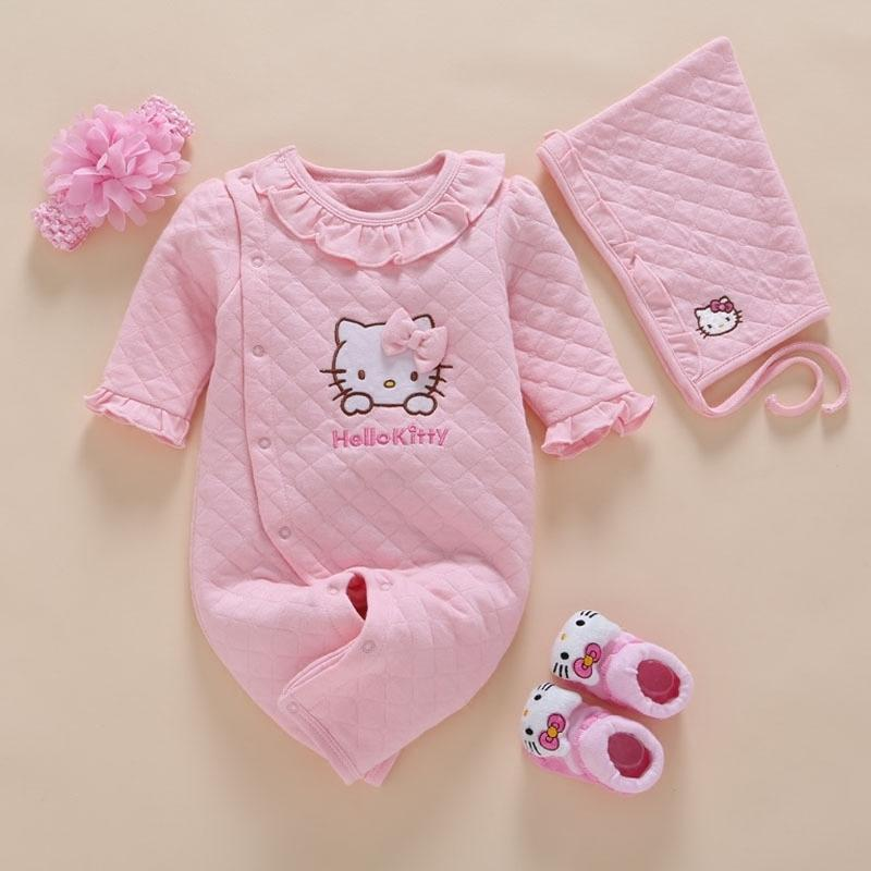 04bf242545ec4 Newborn Baby Girl Clothes Winter Romper Cotton Infant Baby Jumpsuit  Photography 4pcs/set Baby Headband hat sock 0 3 6 9 12 Month J190524