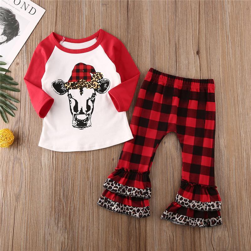 Weihnachten-Kleinkind-Baby-Weihnachts Print-Kleidung stellt Plaid Ruffle Long Sleeve Top T-Shirt Hosen Outfit Frühling 6M-5Y