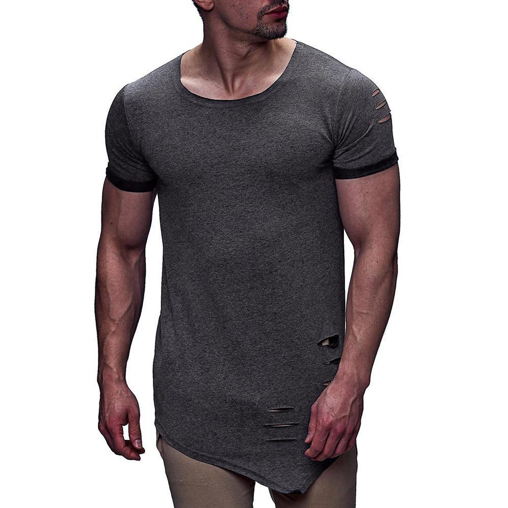 Personnalité De La Mode Trou Hommes t shirt homme Casual Asymétrie slim fit Chemise à manches courtes Top camiseta masculina poleras hombre