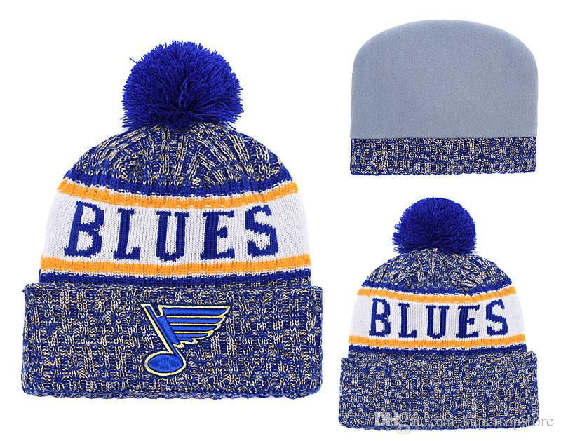 7d09ea9a575 2018 New Arrival Blue Knit Beanies Quality Winter Cap Skullies Ice Hockey  Pom Embroidery Cuff Caps Baby Beanies Beanie Hats For Women From  Supertopstore