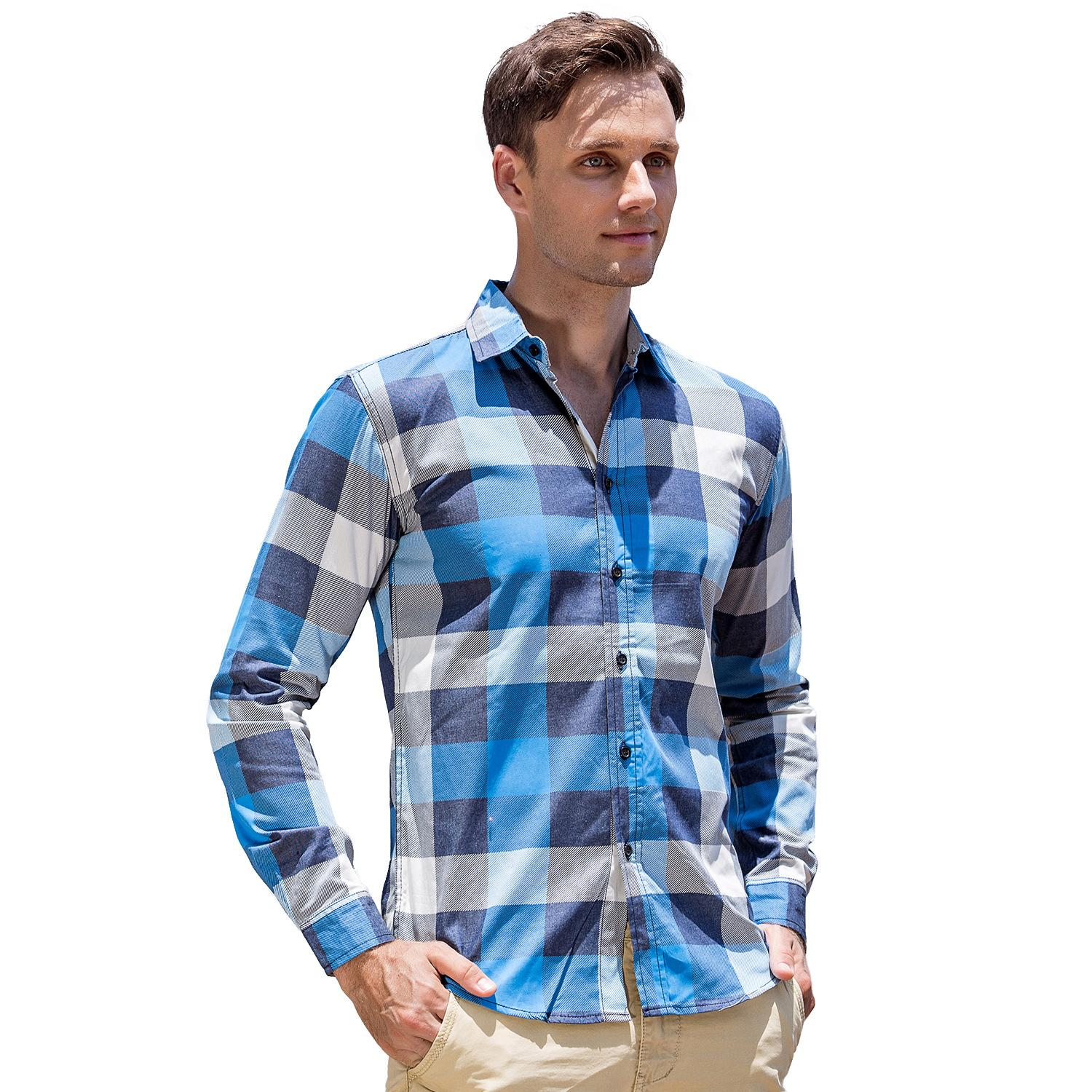 872094f3e5c7 Long Sleeve Plaid Shirts Man Dress Shirt Casual Denim Style Vintage ...