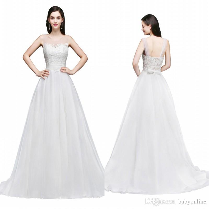 2018 Cheap Summer Beach Bridal Sexy Backless Wedding Dresses A-Line Straps Tulle Neck with Sash Boho Bridal Wedding Gowns CPS763
