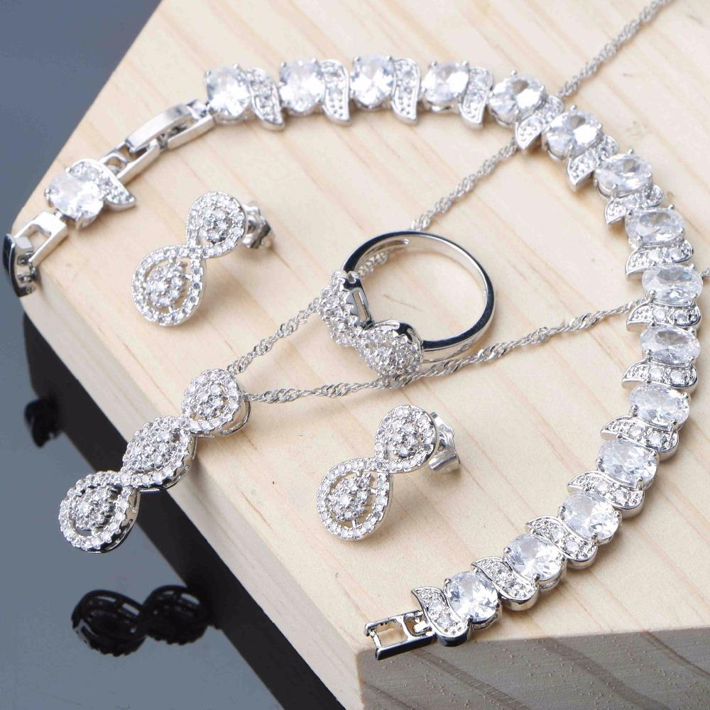 Jewelry Sets For Women Silver 925 Jewelry Stud Earrings Bracelet Ring  Necklace Set Shine White Zirconia Dropshipping
