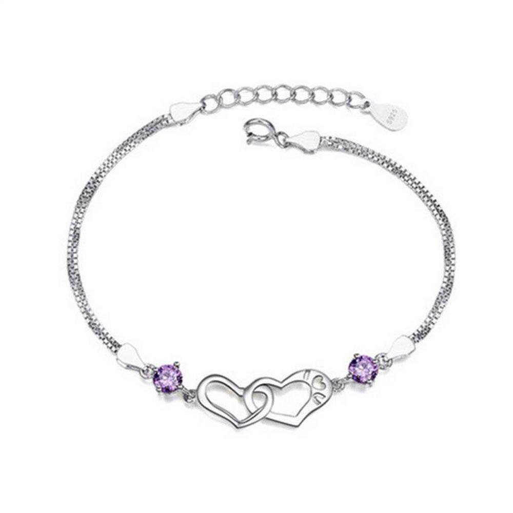 2019 Bfq S925 Sterling Silver Bracelet Crystal Purple Diamond