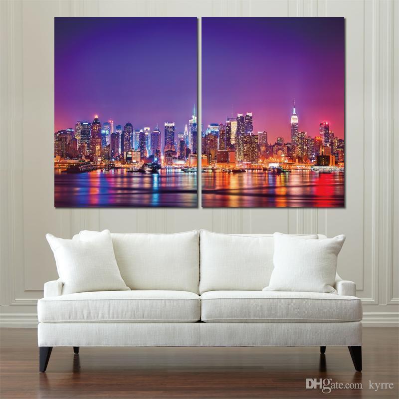 2 conjuntos de cartaz do carro eua city new york manhattan hudson canvas pintura impressa parede pictures para sala de estar decoração