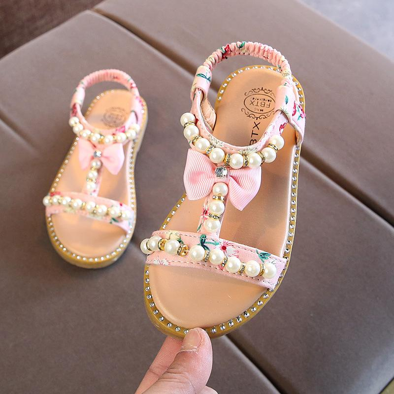2019 New Kids Baby Little Girls Summer Pearl Sandals Bare Toes Princess Dress Shoes Flat Beach Toddler Sandals 1 2 3 4 5 6 Years MX190727