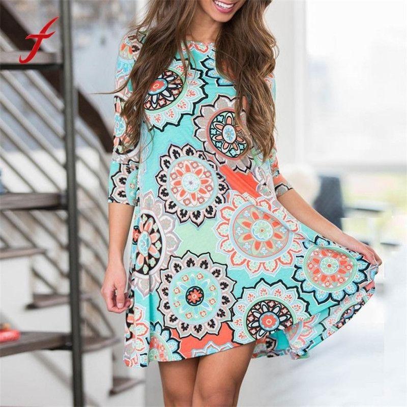 2019 New Summer Womens Summer Vintage Boho Maxi Evening Party Beach Floral O-neck Dress Women's Clothing
