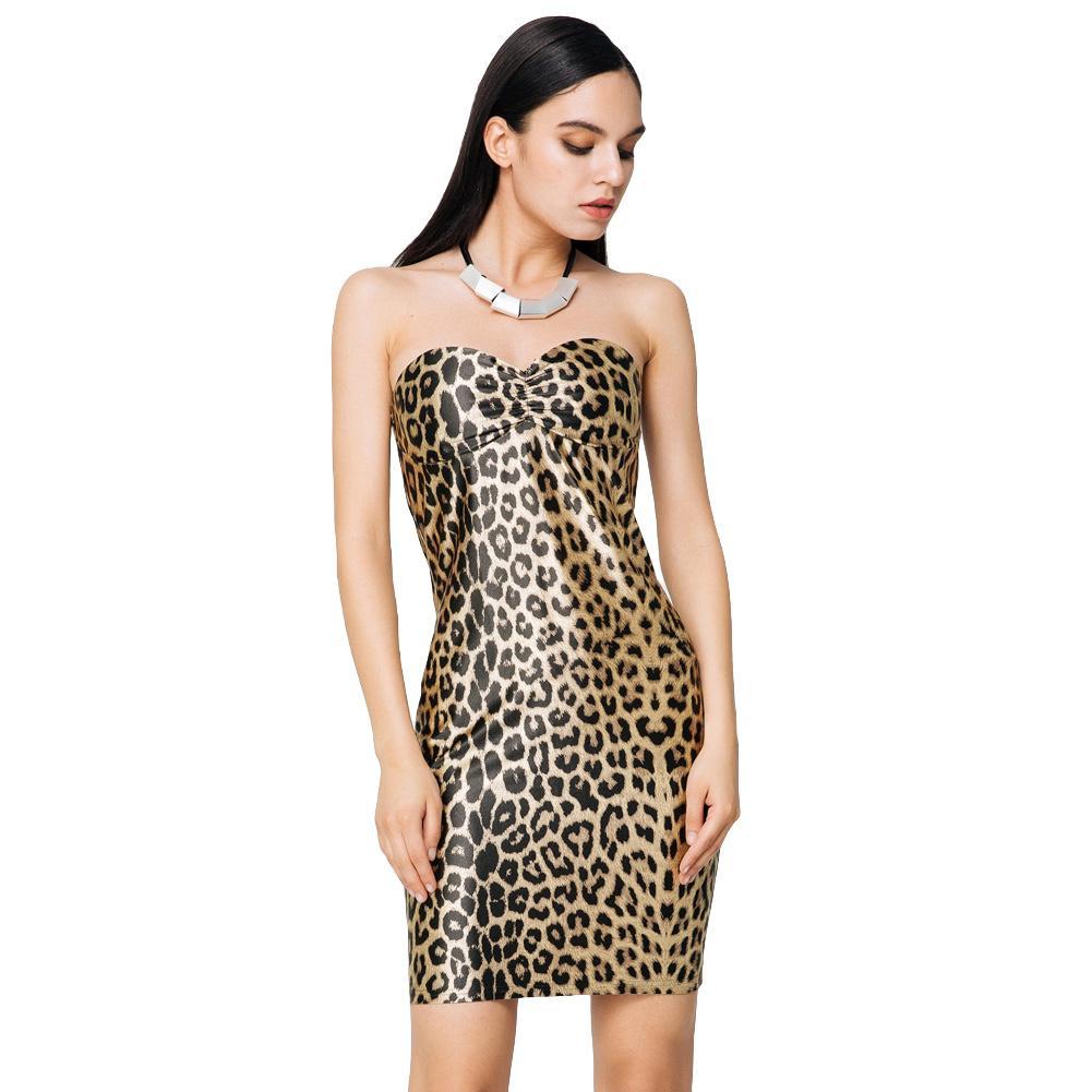 6c7200f491 Compre Vestidos De Fiesta Sexy Con Estampado De Leopardo En El Club 2019 Mujeres  Mini Vestido Sin Tirantes De Oro Con Copas Acolchadas Vestido Ajustado ...