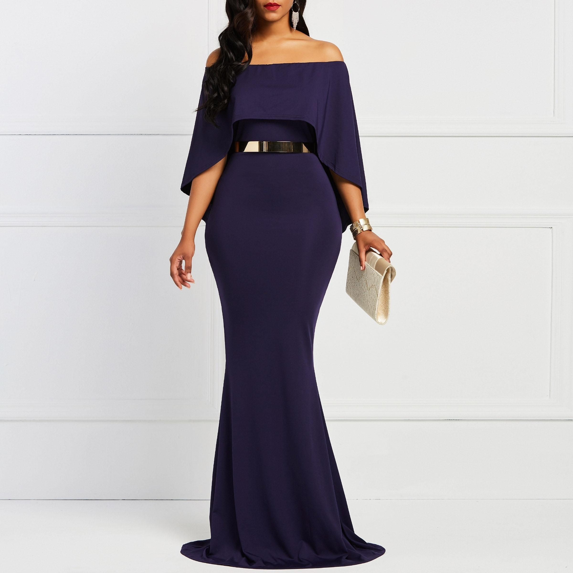 Sleeve Bodycon Slash Neck Women's Dress Navy Elegany Trumpet Evening Party Christmas Dinner Floor-length Maxi Dresses