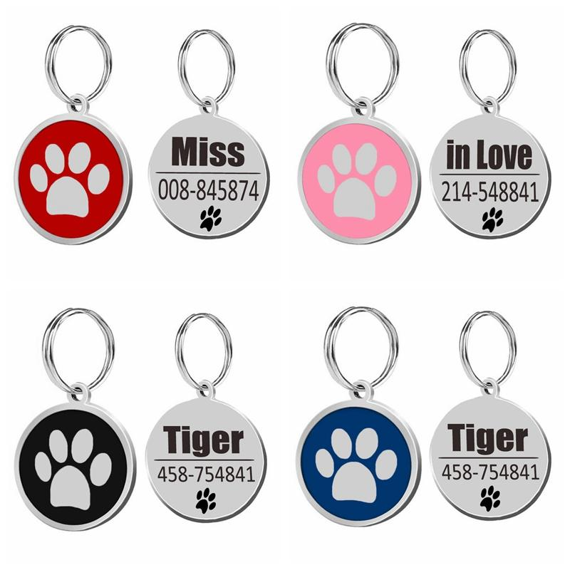Stainless Steel Personalized Dog Id Tag Dog Accessories Metal Customized Round Pet Id Tags Plate Pet 4 Colors