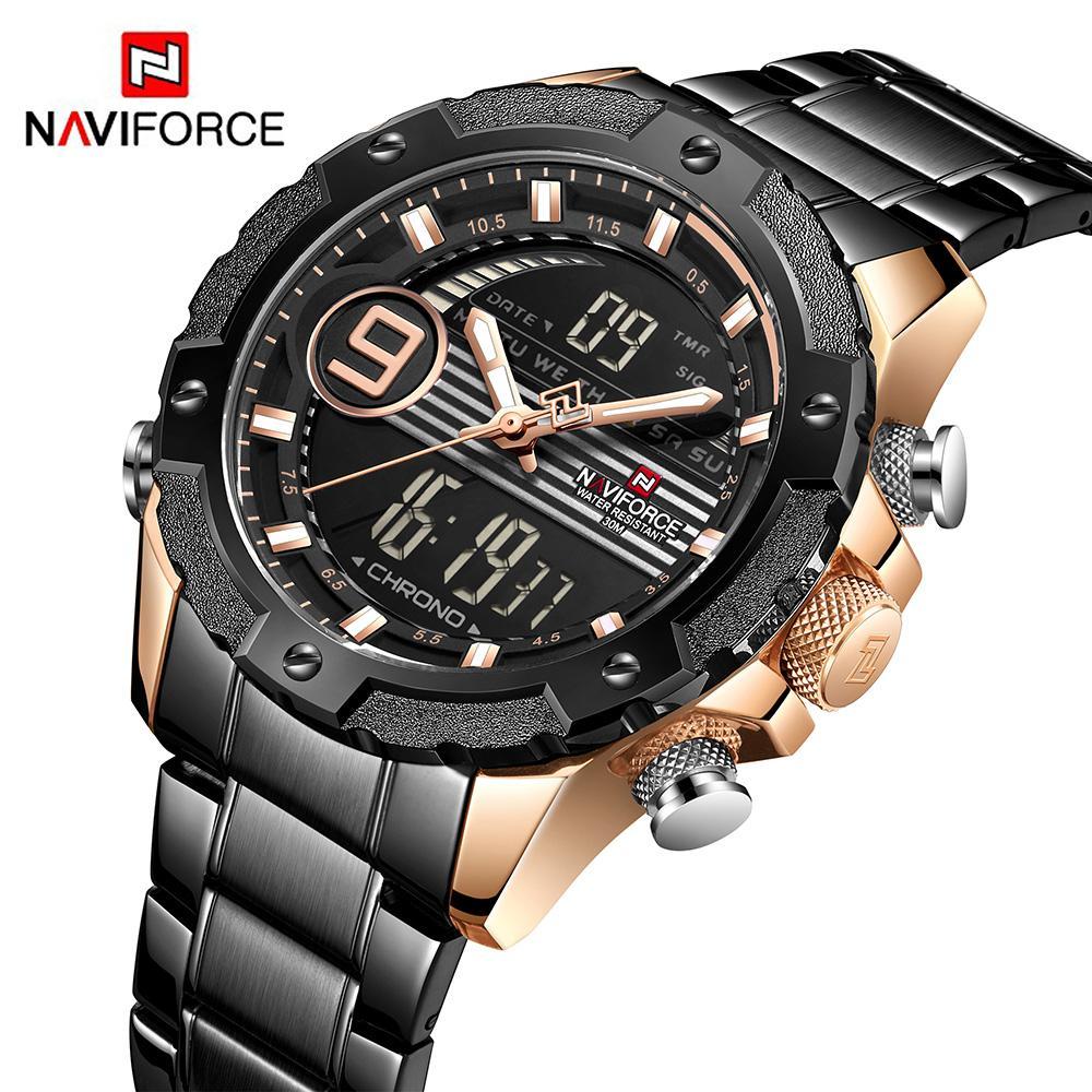 32f07812a8c Compre NAVIFORCE 9146S Top Marca De Luxo Homens Relógios À Prova D  Água  LED Digital Esporte Mens Relógio Masculino Relógio De Pulso Relogio  Masculino De ...