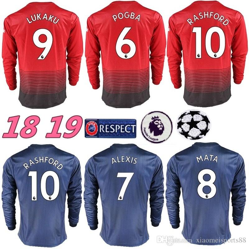 Custom Manchester United Long Sleeve Soccer Jersey POGBA ALEXIS ... 757720afa