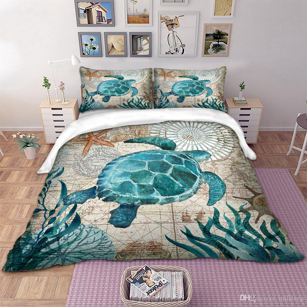 Blue Tortoise Bedding Sets Duvet Cover Pillow Shams 3D Printing Bedding set US and AU Size