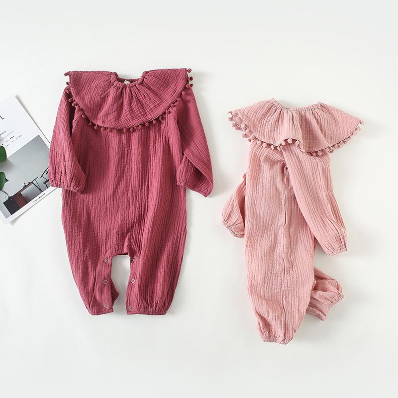 fd13bd0f65bd 2019 Baby Girls Rompers Linen Cotton Toddler Girl Jumpsuits Long ...