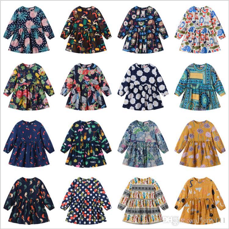 867af2c0d2add 2019 Spring And Autumn Girls Dresses 20 Styles Multicolor Printed Flower  Girl Dresses Floral Dress Kids Designer Clothes Girls JY03 From Jerry111,  ...