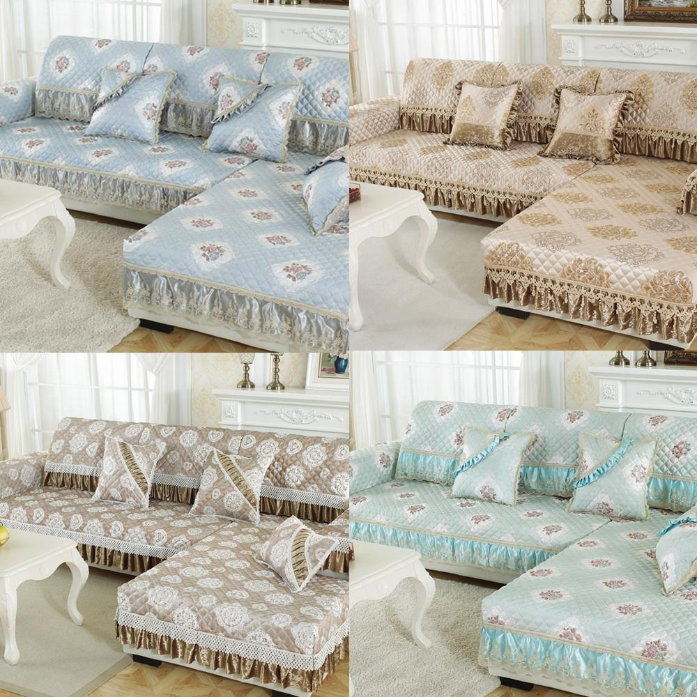 Modern european linen sectional couch covers lace towel high quality  non-slip sofa cover soft comfortable recliner cover
