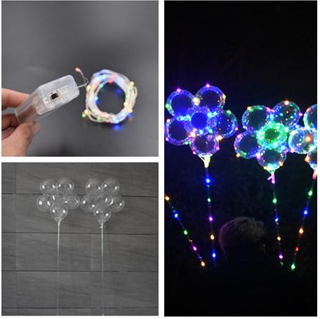 Luminous LED Balloon with 70cm Stick Plum Blossom Flower Shape Transparent 3m String Rainbow Lights Holiday Wedding Party Supply Decoration