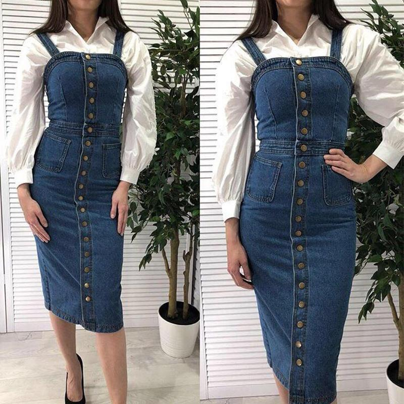 9107a6d240e 2019 Summer Autumn Women Denim Dress Sundress Sarafan Overalls Dress  Vintage Blue Sexy Bodycon Female Jeans Dress Womens Dresses Red Prom Dresses  From ...