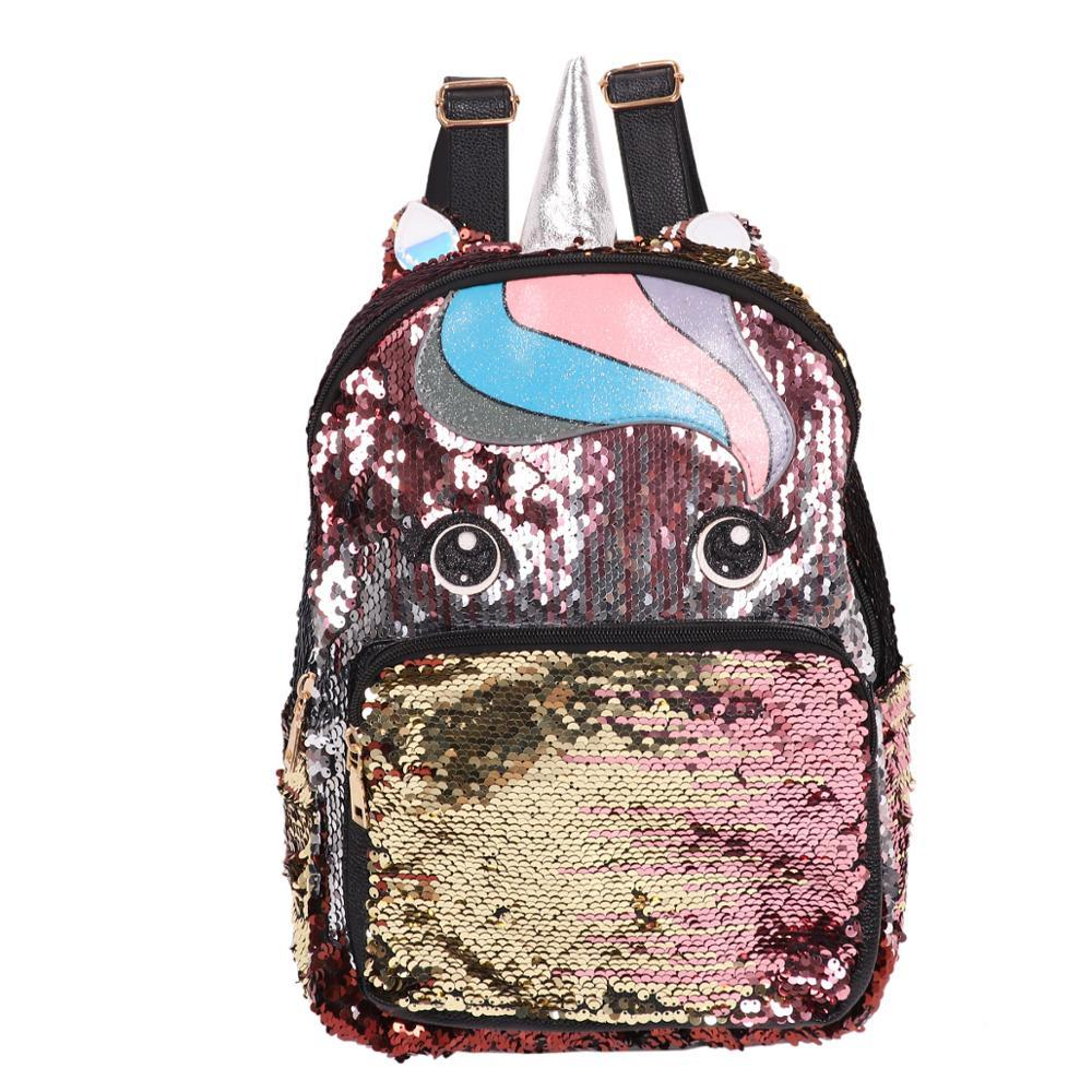 2019 Ragazze Cute Cartoon Animal Horse Abbagliante Glittery Magic Paillettes PU Zaino Daypack Shoulder Travel Bag Borsa a tracolla Satchel