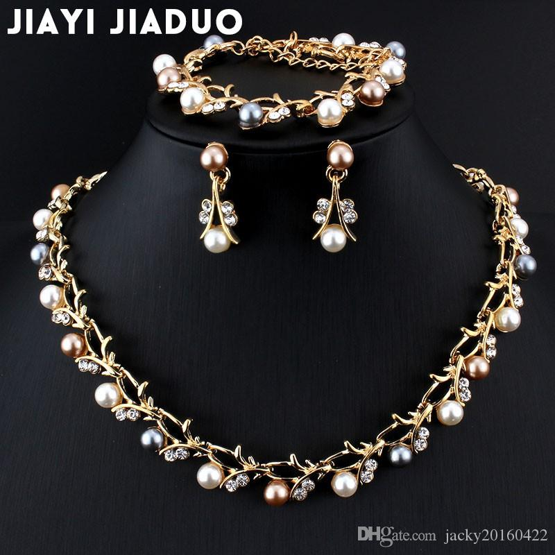 0514fe6de7 Jiayijiaduo Hot Imitation Pearl Wedding Necklace Earring Sets Bridal  Jewelry Sets for Women Elegant Party Gift Fashion Costume