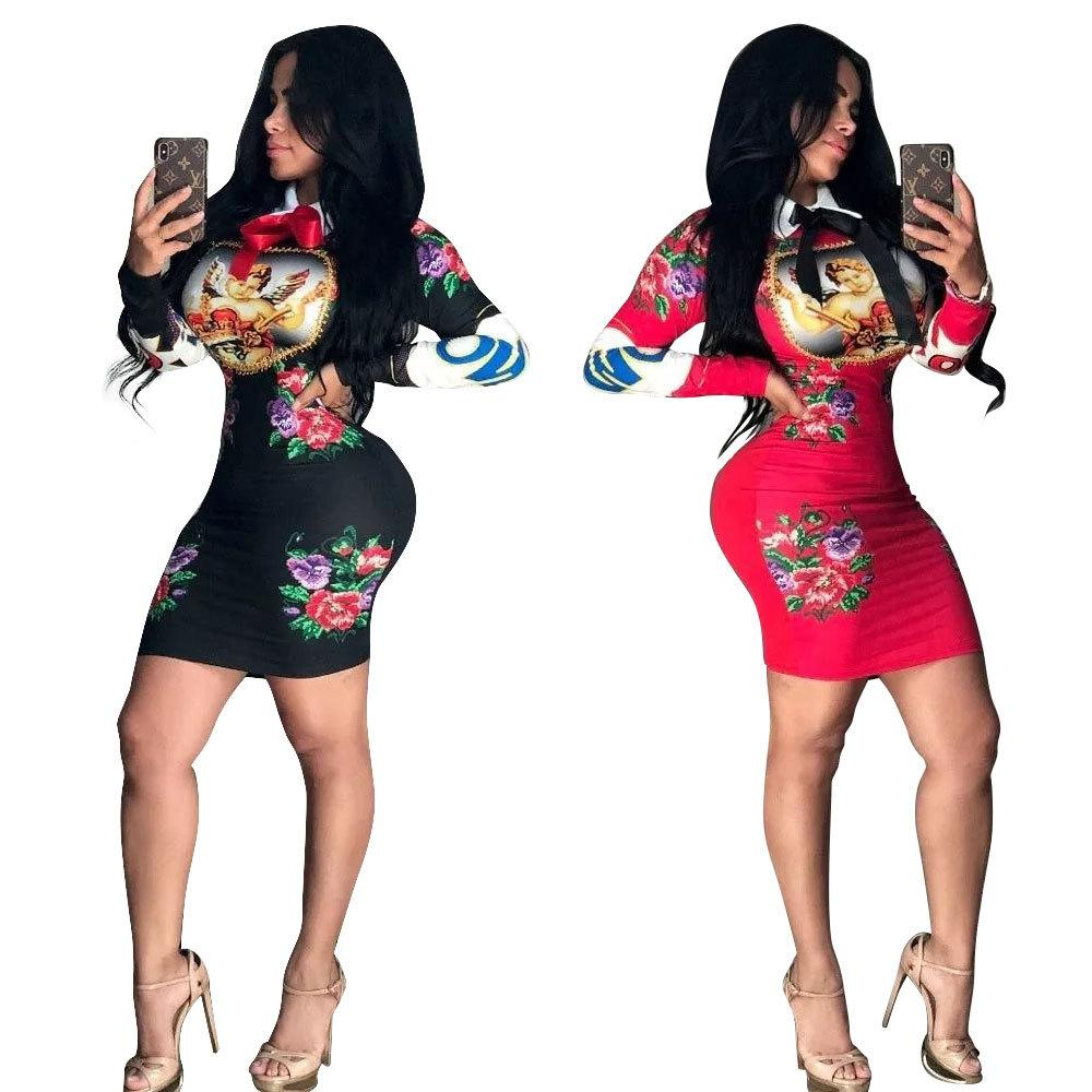 f5611a747885 Acquista Vestito Da Donna 2019 Primavera Nuovo Arrivo Gonna Attillata Stand  Colletto Gonna Stampata A Maniche Lunghe Multicolore Opzionale A $19.51 Dal  ...