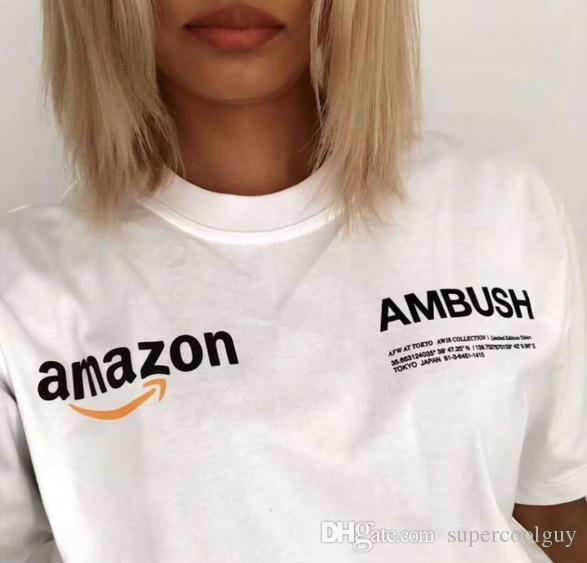 fdaea3a9ab0f3 Ambush Amazon Joint T-shirt Fashion EU Size Short Sleeve Tee Top Quality  Limited Edition Crew Neck White T-shirt Drop Shipping