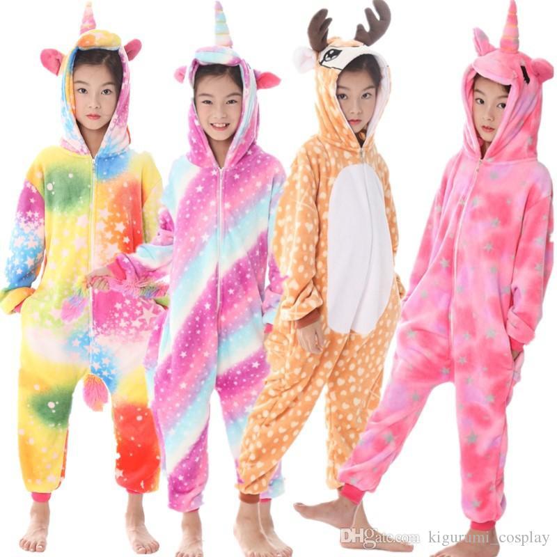 5be093808802cd Animais Pijama Traje Do Unicórnio Roupa Dos Miúdos Kigurumi Unisex Cosplay  Bonito Sleepwear Bebê Onesies Macacão Para Venda