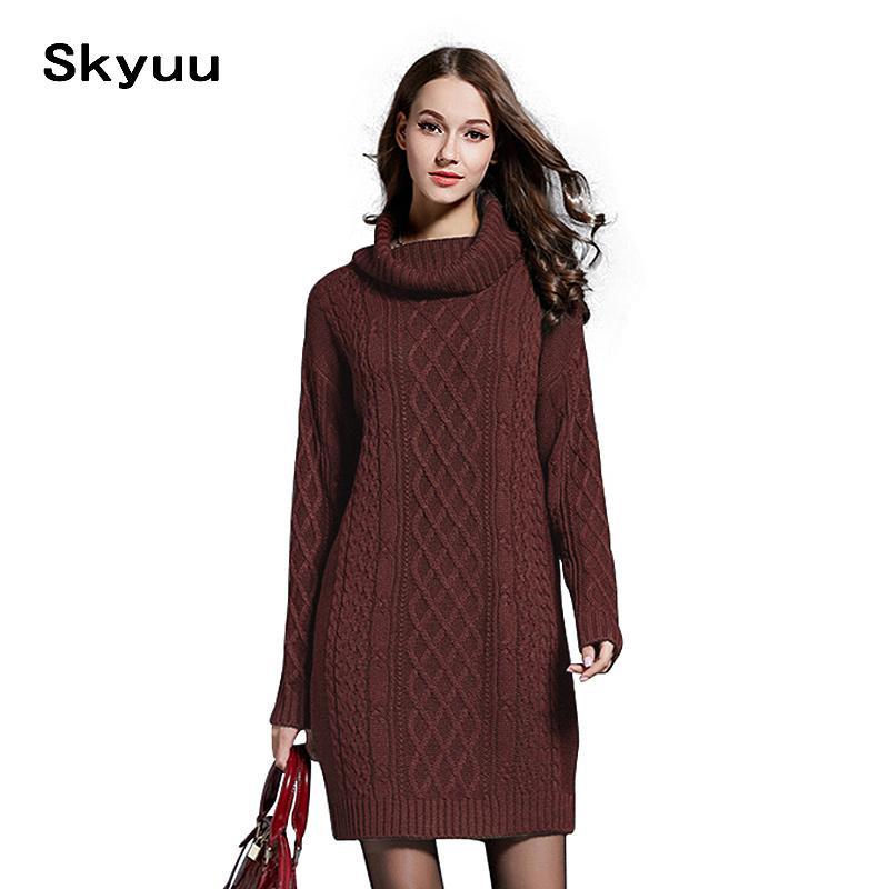 Skyuu 2018 Winter Sweater Dress Plus Size Women Long Sleeve Turtleneck  White Mini Knitted Dress Lady Sweater Dresses Winter 4xl J190505