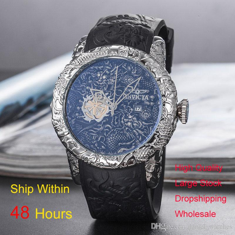 caabca6a6b3 Compre Invicta Relógios Famosa Marca Aaa Relógio De Luxo Homens Moda  Militar Mens Watch Homem De Ouro De Quartzo Relógio De Pulso Invicta Assista  Montres ...