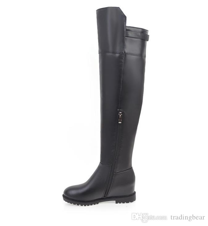 Plus size 34 to 42 43 44 45 Black PU Leather Invisible Med Wedge Heels Over The Knee Thigh High Boots