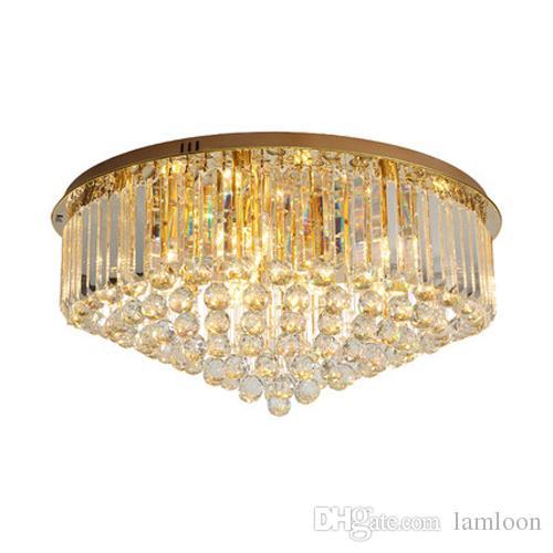 Design Or En Cristal Lampe Plafond De Plafonds Plafonniers Lustre Nouveau Lampes Led Moderne Dimmable Avec Plaque Rondes gyIf6Yb7vm