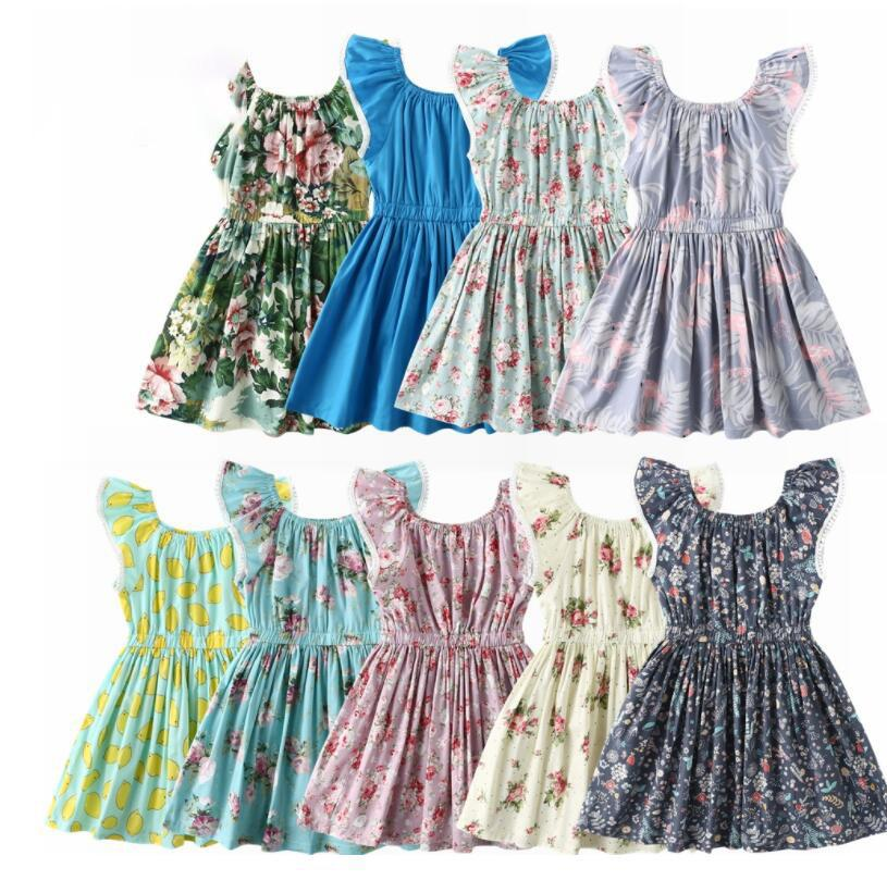 3b7e05771762 2019 Baby Girls Dress Party Princess Floral Fly Sleeve Summer Dresses  Children Sundress Clothes Girl Flower Lemon Print Design Dress KKA6634 From  Kids_dress ...