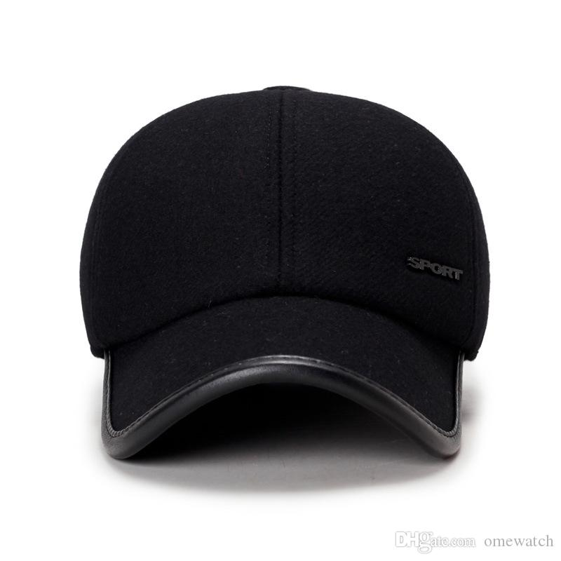 Autumn And Winter Men Woolen Baseball Cap Outdoor Thermal Insulation Ear Protection Pu Lint Hat Wholesale