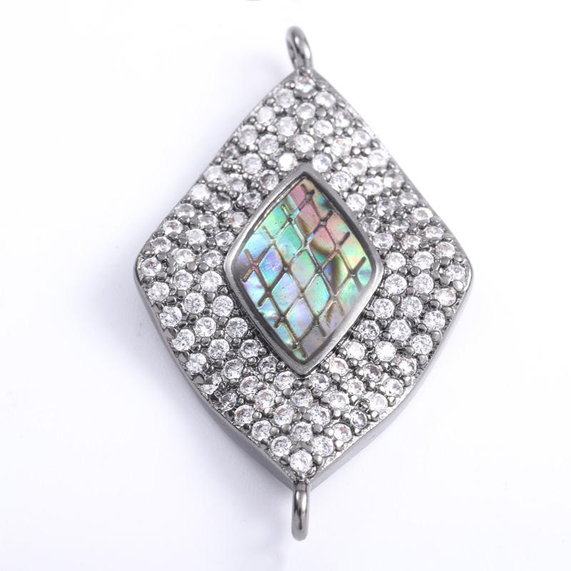 Singreal Abalone Shell Micro Pave Diamonds Charms Bracelet necklace Choker Pendant connectors for women DIY Jewelry making