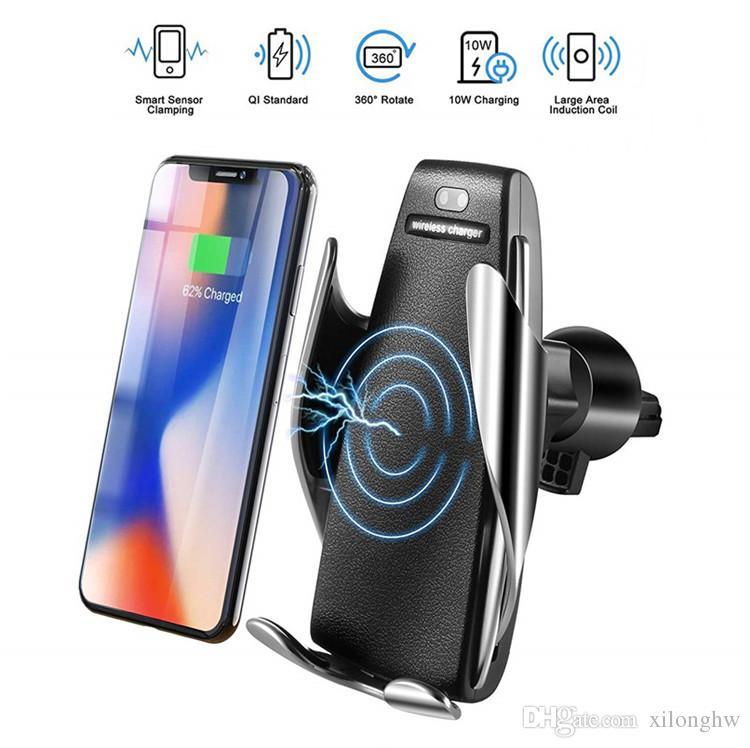 a40561a7d18 Cargadores Portatiles Para Celulares IR Automático Sujeción Qi Cargador De  Coche Inalámbrico Air Vent Soporte Para Teléfono Soporte De Montaje Para  Iphone ...