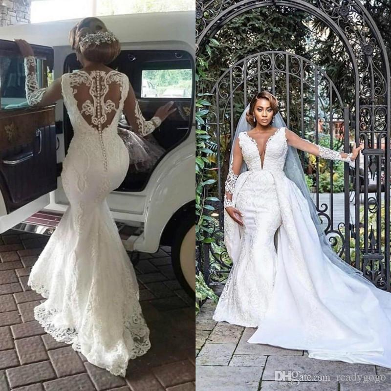 African Mermaid Wedding Dresses with Detachable Train 2020 Luxury Designer Lace Applique Beaded Long Sleeve Plus Size Wedding Gown