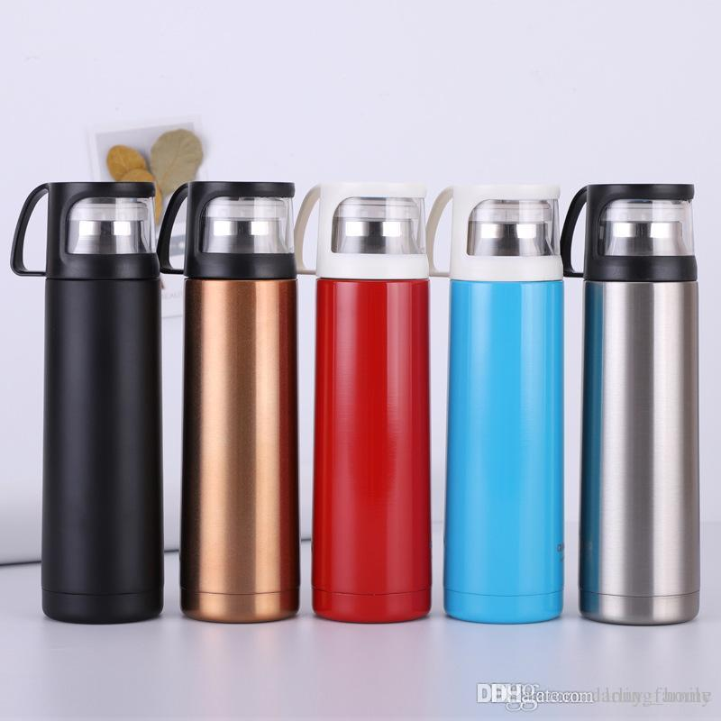 7ed8988426 Creative 18oz Water Bottle with Cup as Lid Vacumn Coffee Mugs Teapot ...