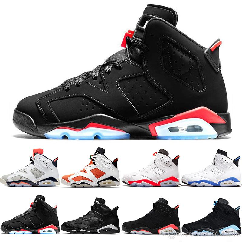 new arrival ddd42 c5ed6 2019 Black Infrared 6 6s Mens Basketball Shoes Tinker UNC Black Cat White  Infrared Red Carmine Toro Designer Men Sneakers Trainers Size 13
