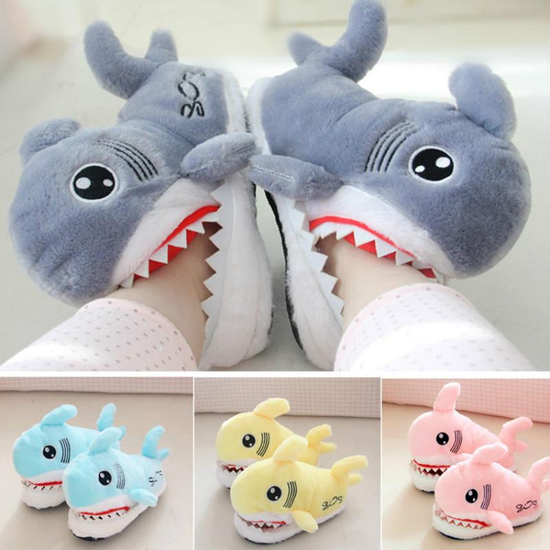 Dropshipping Winter Super Animal Funny Shoes for Men and Women Warm Soft Bottom Home Indoor Floor Shark Shape Furry Slippers