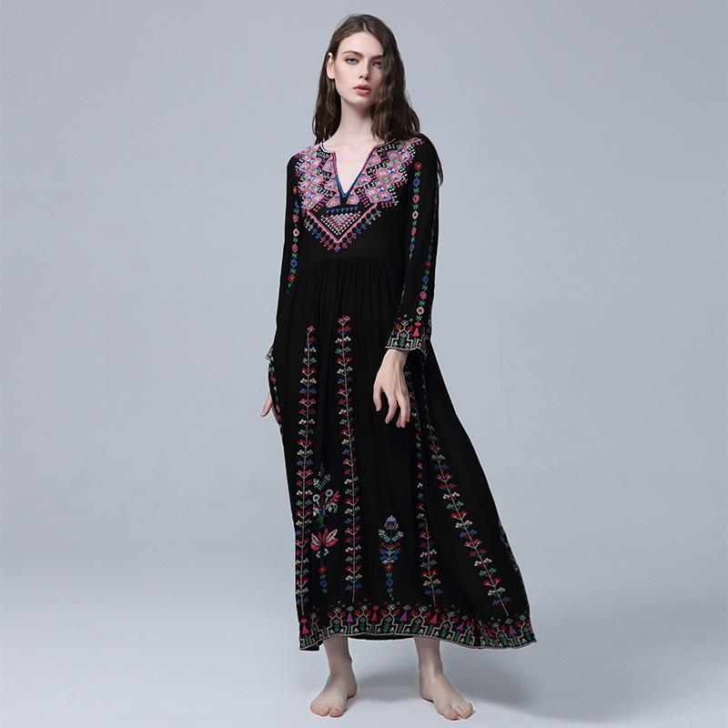 be32c186a Best Bohemian# Maxi Dress 2019 New Vintage V Neck Sexy Women Bohemian Beach  Resort Embroidered Flowers Loose Ethnic Dress Women Dress Black Party  Dresses ...
