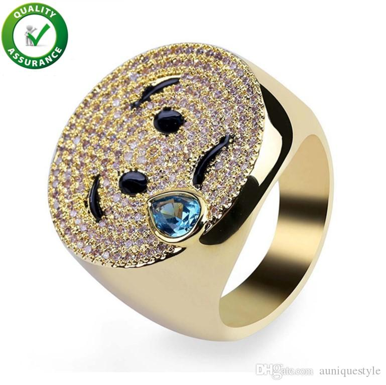 Wedding Band Sets.Hip Hop Jewelry Wedding Rings Sets Engagement Diamond Ring Mens Luxury Smiling Face Emoji Iced Out Micro Pave Cz Expression Smile Ring Women