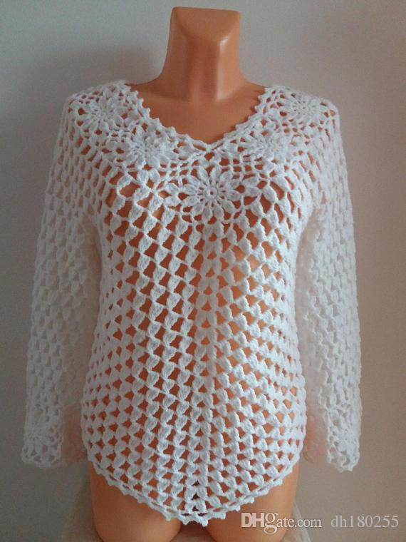 2019 Vintage Crochet Vest Top Shrug Bolero Beach Cover Up Women Boho