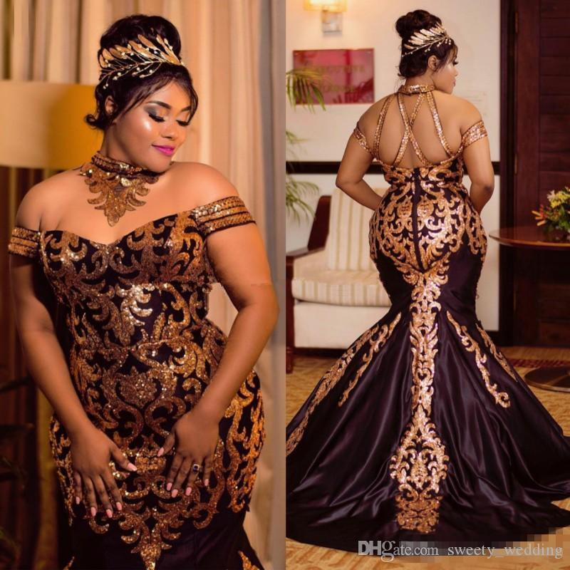 b06671fa Sparkly Gold Lace Mermaid Evening Dresses Sequined Halter Off The Shoulder  Plus Size African Prom Gowns Sweep Train Satin Evening Dresses To Hire  Evening ...