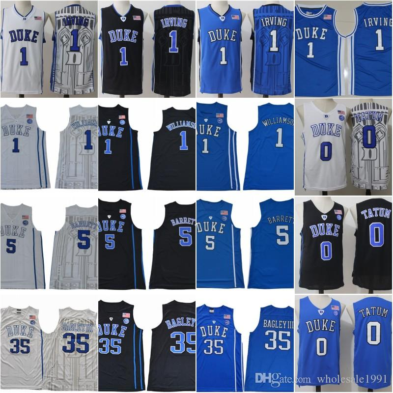 cheap for discount cce48 01dbc Duke Basketball Jersey Zion Williamson RJ Barrett Jersey Stitched Kyrie  Irving Jayson Tatum Marvin Bagley III Blue Black White Shirt