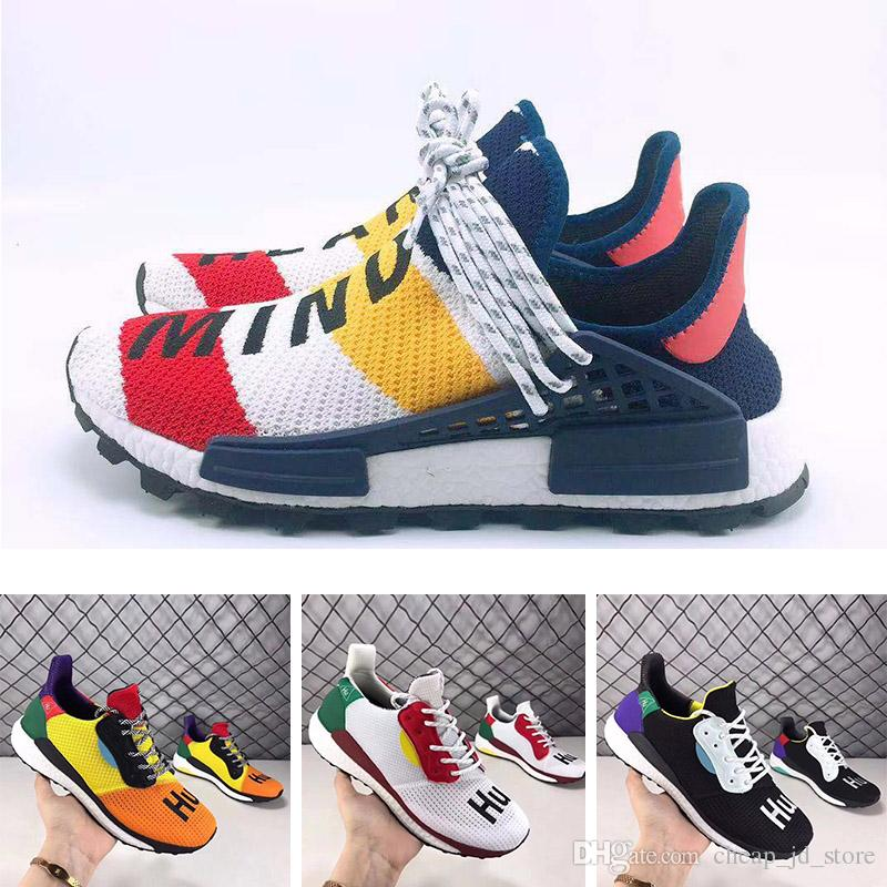 62db4ff7c1ab3 Pharrell Williams SOLARHU Mens Running Shoes Black White Yellow BBC Human  Race SOLAR HU PW Women Trainer Sports Sneakers 36 45 Wholesale Best Shoes  For ...