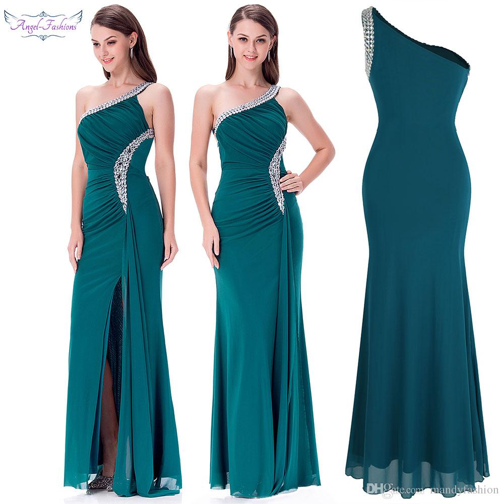 Angel-Fashions Damen One Shoulder Rüschen Perlenband Langes Kleid Abendkleid Abendkleider 411