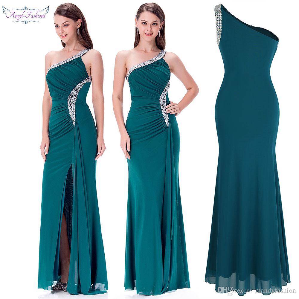 2c3d48cd19e Angel-fashions Women s One Shoulder Ruching Beading Ribbon Long Dress  Formal Dress Evening Dress Prom Dresses 411
